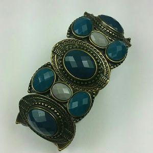 Blue teal Gray antique silver gold tone bracelet